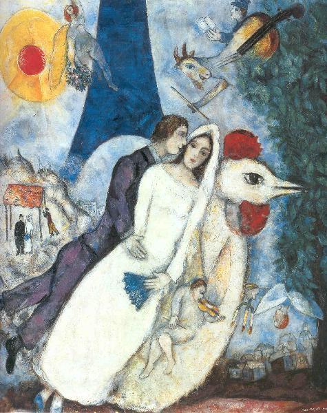 Les Maries de la Tour Eiffel, Marc Chagall, asi 1938